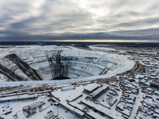 MIRNY, RUSSIA - NOVEMBER 1, 2018: A view of a kimberlite tube of the Mir diamond mine owned by ALROSA's Mirny Mining and Processing Division (MPD).  Alexander Ryumin / TASS (Photo by Alexander Ryumin  TASS via Getty Images)