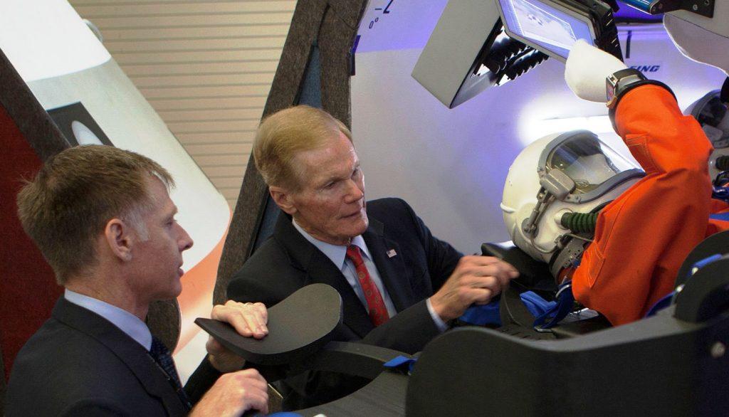 Bill Nelson and Chris Ferguson at Starliner mockup