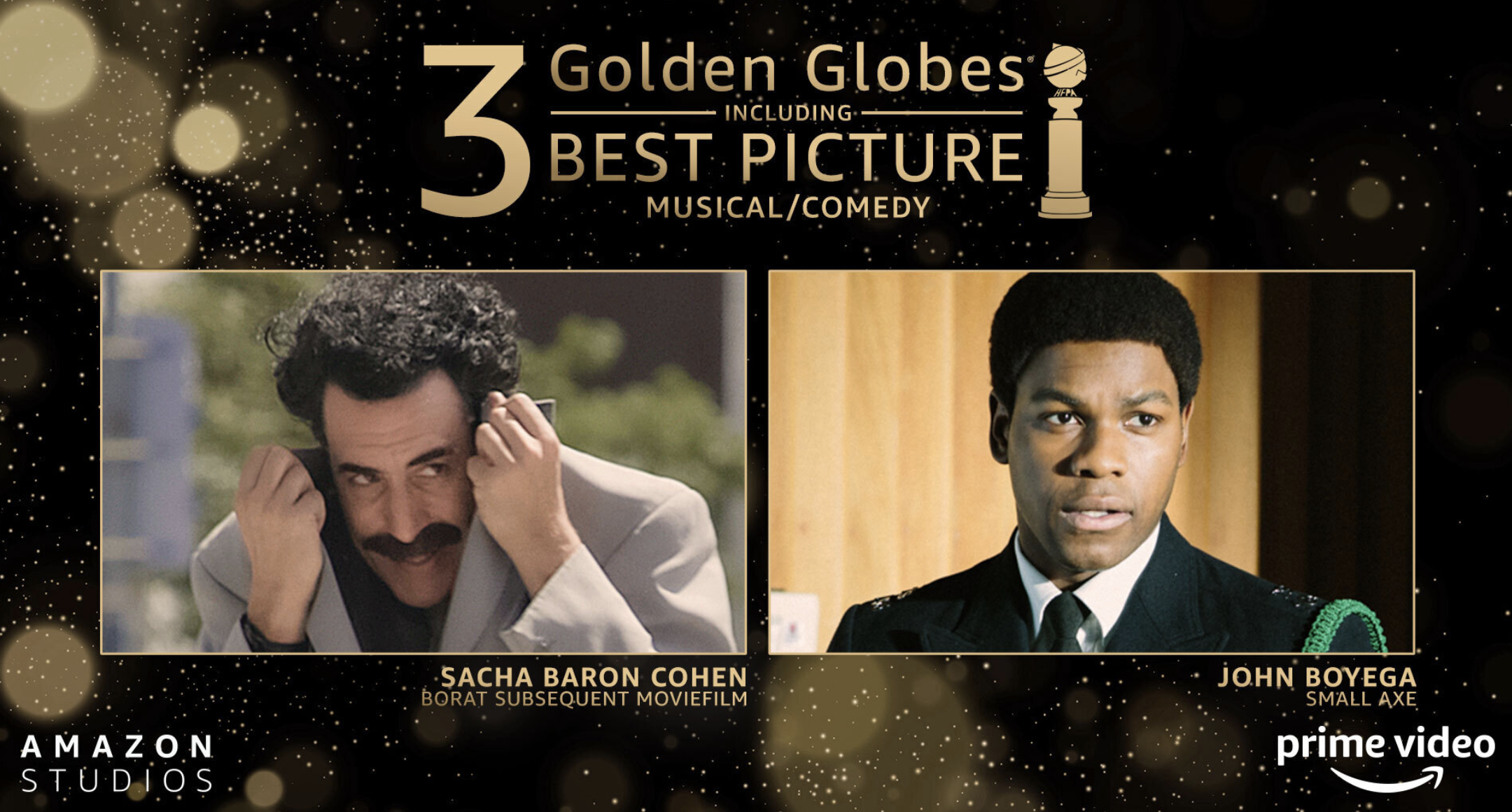 Amazon takes 3 Golden Globes, including big 'Borat' win, as annual event goes mostly virtual