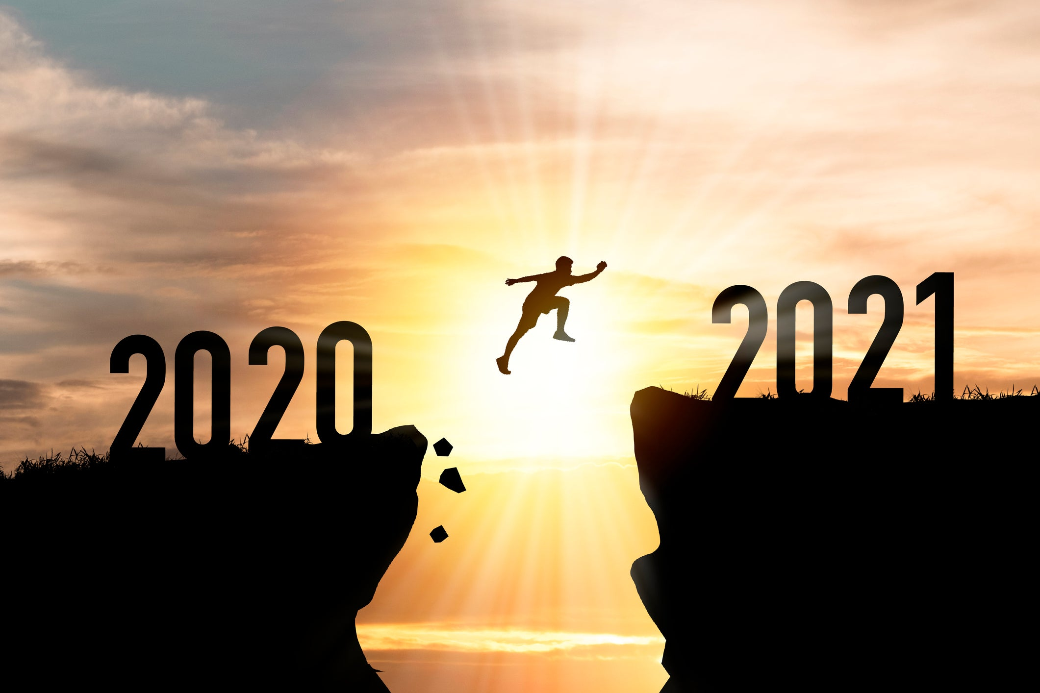 Person jumping from 2020 to 2021
