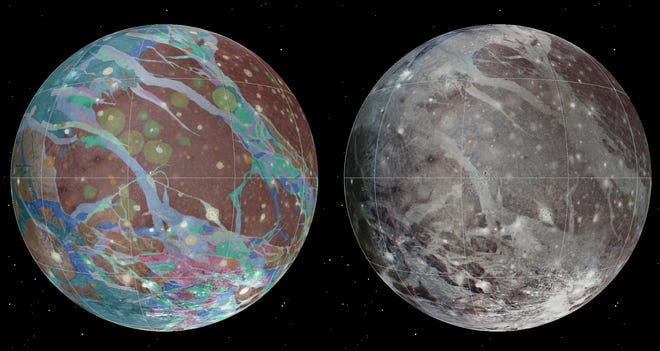 The mosaic and geological images of Jupiter's moon Ganymede have been compiled using the best available images from NASA's Voyager 1 and 2 spacecraft and NASA's Galileo spacecraft.