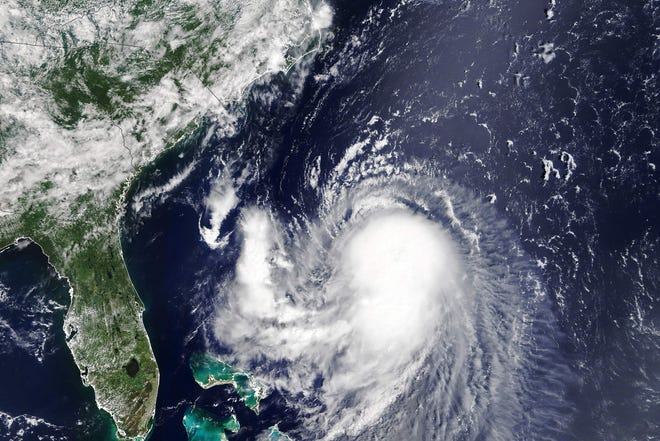 A satellite image shows tropical storm Henri moving towards the northeast coast on Friday, August 20, 2021.  Henri is expected to be the first hurricane to hit the New England region in decades.